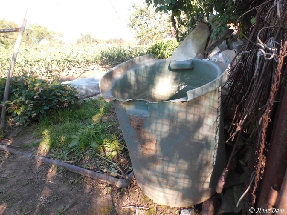 Ez a műanyag edény (skopka), majdnem meg volt telve esővízzel, mikor a szél ezt feölkapta és néhány méterrel arrább repítette... mondja Bruszi Julianna a kertjében történteket