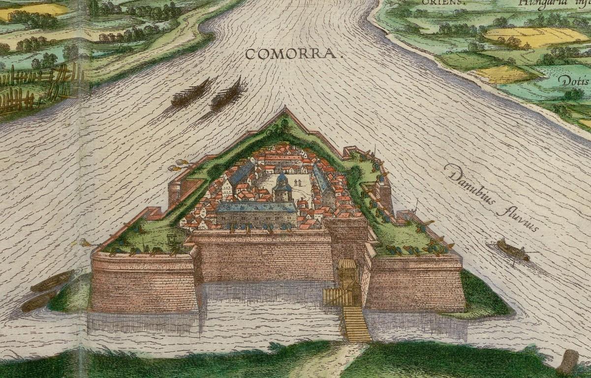 A vár 1598-ban. A kép a Civitates Orbis Terrarum könyvben jelent meg, amelyben korabeli térlépeket, és városok látképeit örökítették meg, köztük Komáromét is. Georg Braun – Frans Hogenberg rajza.